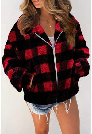 Plaid Print Sherpa Jacket Coat