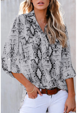 Wild Snake Print Shirt with Pockets