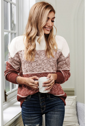 Colorblock Knit Pullover Sweater
