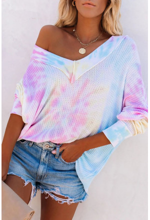 Multicolour V Neck Tie-Dyed Knitted Long Sleeve Top