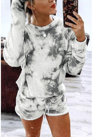 Tie-dye Long Sleeve Top and Shorts Two-piece Set