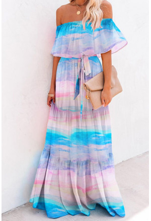 Printed Off-the-shoulder Tiered Maxi Dress