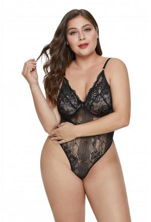 Black Scalloped Lace Teddy Lingerie Plus Size