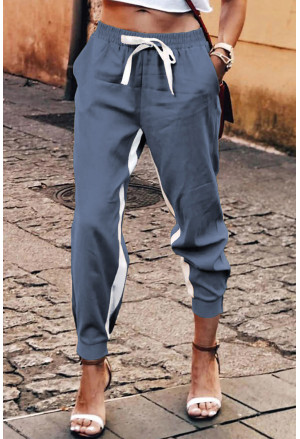 Casual Striped Drawstring Pants