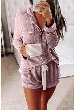 Long Sleeve Drawstring Button Loungewear