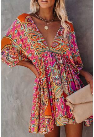 Multicolour V Neck 3/4 Sleeve Bohemian Vintage Print Mini Dress
