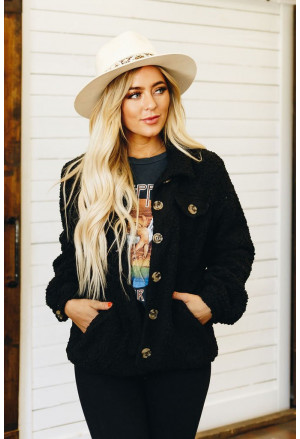 Sherpa Button Up Long Sleeve Jacket