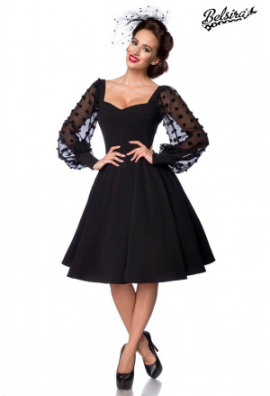Retro dress Belsira with mesh baloon sleeves