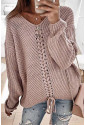 V-neck Lace Up Knitted Sweater