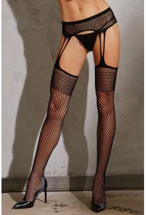 Black High Waist Fishnet Lace Pantyhose
