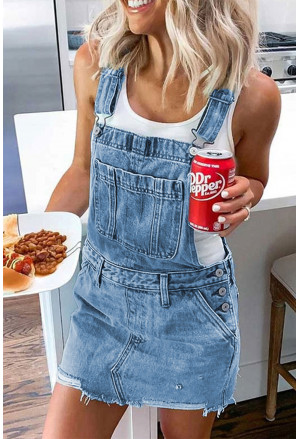 Shoulder Strap Pockets Denim Overall Skirt Mini Dress