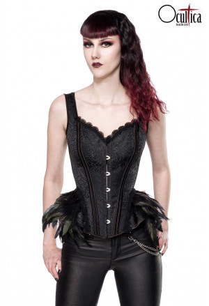 Elegant black women brocade corset with feathers