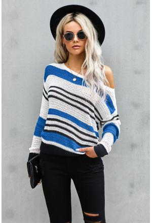 Loose Fit Striped Pattern Sweater