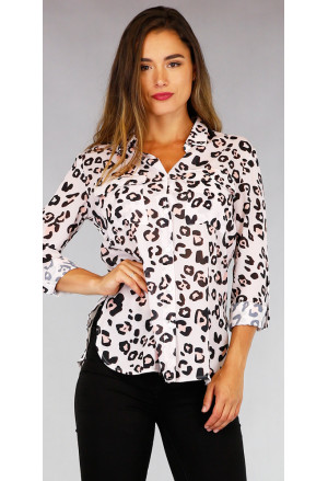 Leopard Print Shirt with Pockets