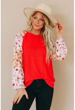 Mixed Print Balloon Sleeve Top