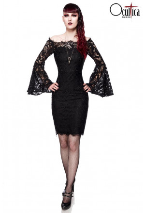 Elegant lace dress with trumpet sleeves