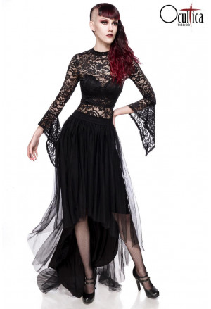 Black asymetric tulle skirt