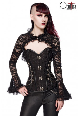Transparent lace bolero with trumpet sleeves
