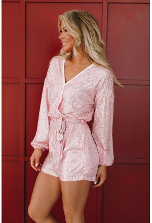 Eye-candy Sequin Pocketed Tie Romper