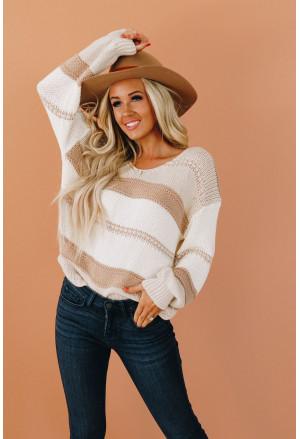 V-neck Knitted Lantern Sleeve Pullover Sweater