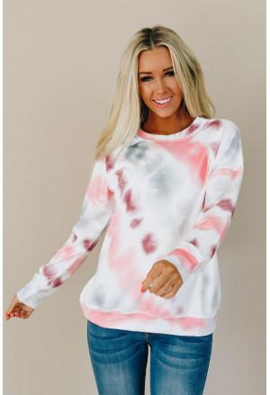 Casual Tie-dye Round Neck Sweatshirt