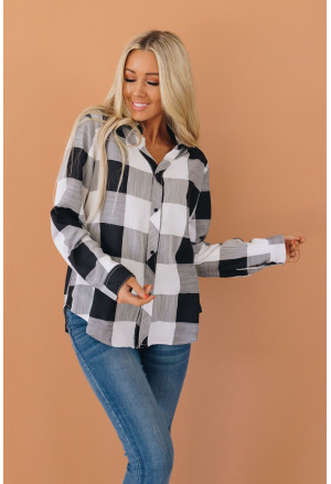 Black Turn Down Collar Plaid Button Down Blouse with High/Low Hem