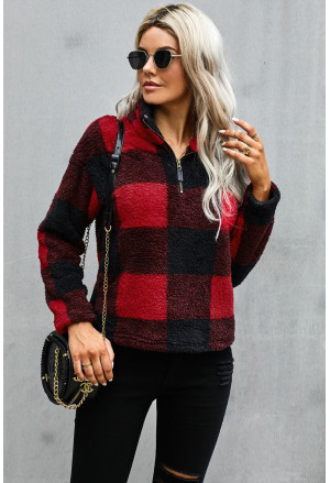 Checkered Half Zip Pullover