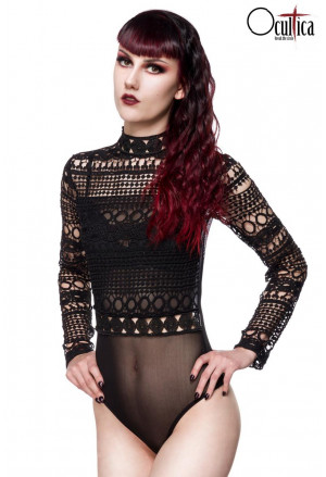 Black gothic lace long bell sleeves bodysuit