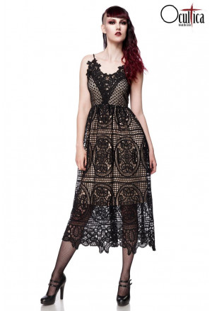 Black gothic lace prom dress