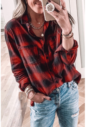 Red Buffalo Checkered Print Chest Pockets Shirt
