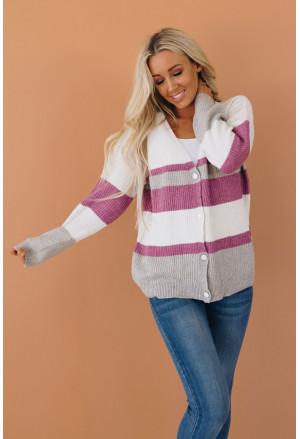 V Neck Button Closure Colorblock Knit Sweater