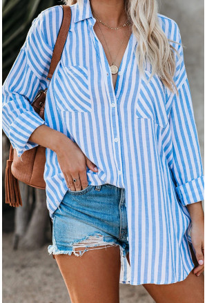 Stripe Linen Dropped Sleeve Button Down Blouse with Pocket
