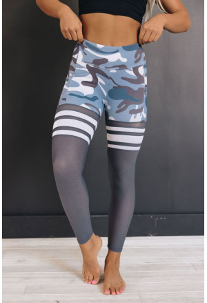 Camo Print Striped Sport Pants