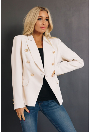 Double Breasted 3/4 Sleeve Novelty Button Blazer