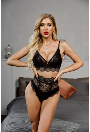 Strappy Lace Bralette High Waist Lace Up Panty Set