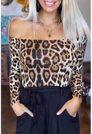 Long Sleeve Off Shoulder Leopard Bodysuit
