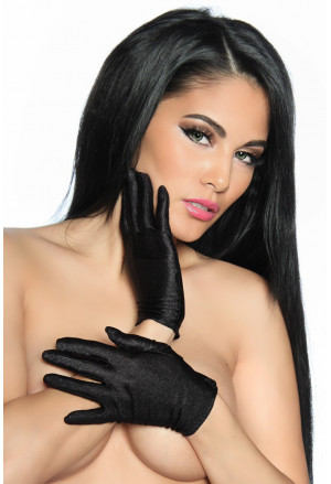 Short satin black gloves
