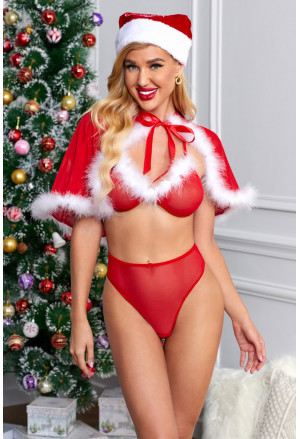 3pcs Red Plush Lingerie Panty Cloak Christmas Costume