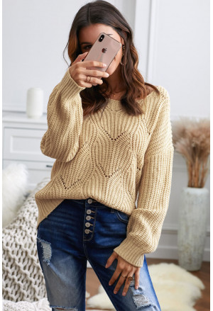 Hollow-out Round Neck Knitted Sweater