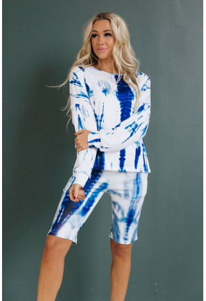 Tie-dye Long Sleeves Shorts Slouchy Set