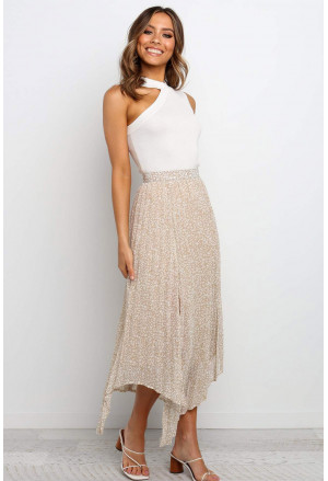 Fashion Print Side Slit Pleated Maxi Skirt