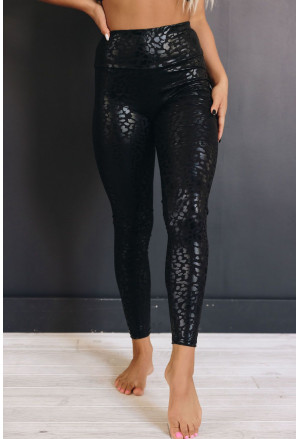 Shiny snake black high waist leggings