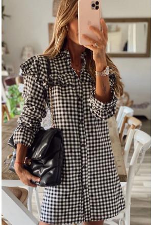 Black Plaid Ruffle Buttoned Long Sleeve Mini Dress