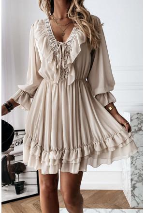 Lacy V Neck Ruffled Mini Dress