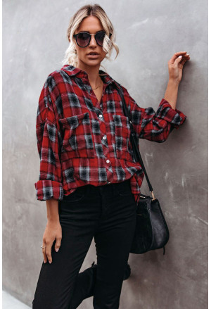 Cotton Blend Plaid Buttoned Shirt with Bust Pockets