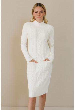 High Neck Textured Bodycon Sweater Dress