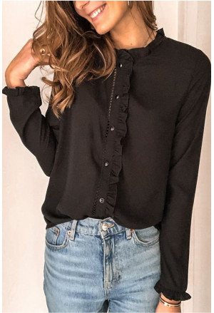 Frilled Neckline Buttoned French Shirt