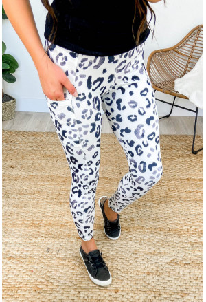 White Black Leopard Pocketed Athletic Leggings