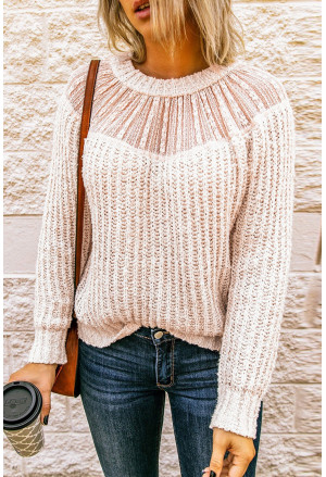 Beige Round Neck Lace Splicing Knitted Sweater