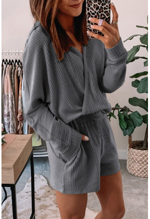 Waffle Texture V Neck Long Sleeve Hoodie & Shorts Two-Piece Loungewear